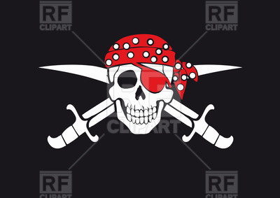 Jolly Roger pirate flag with skull in bandana and swords Vector Image u2013  Vector Artwork of hdclipartall.com