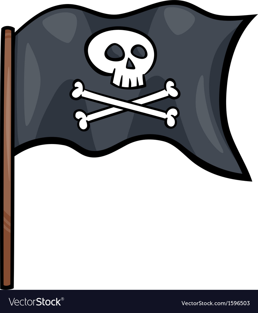 Pirate Flag Cartoon Clip Art Vector Image