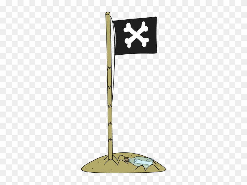 Pirate Flag In The Sand - Pirate Flag Clipart