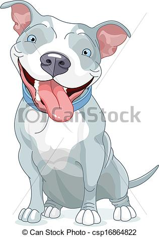Pit Bull Dog - Illustration of Cute Pit Bull Dog Pit Bull Dog Clip Artby ...