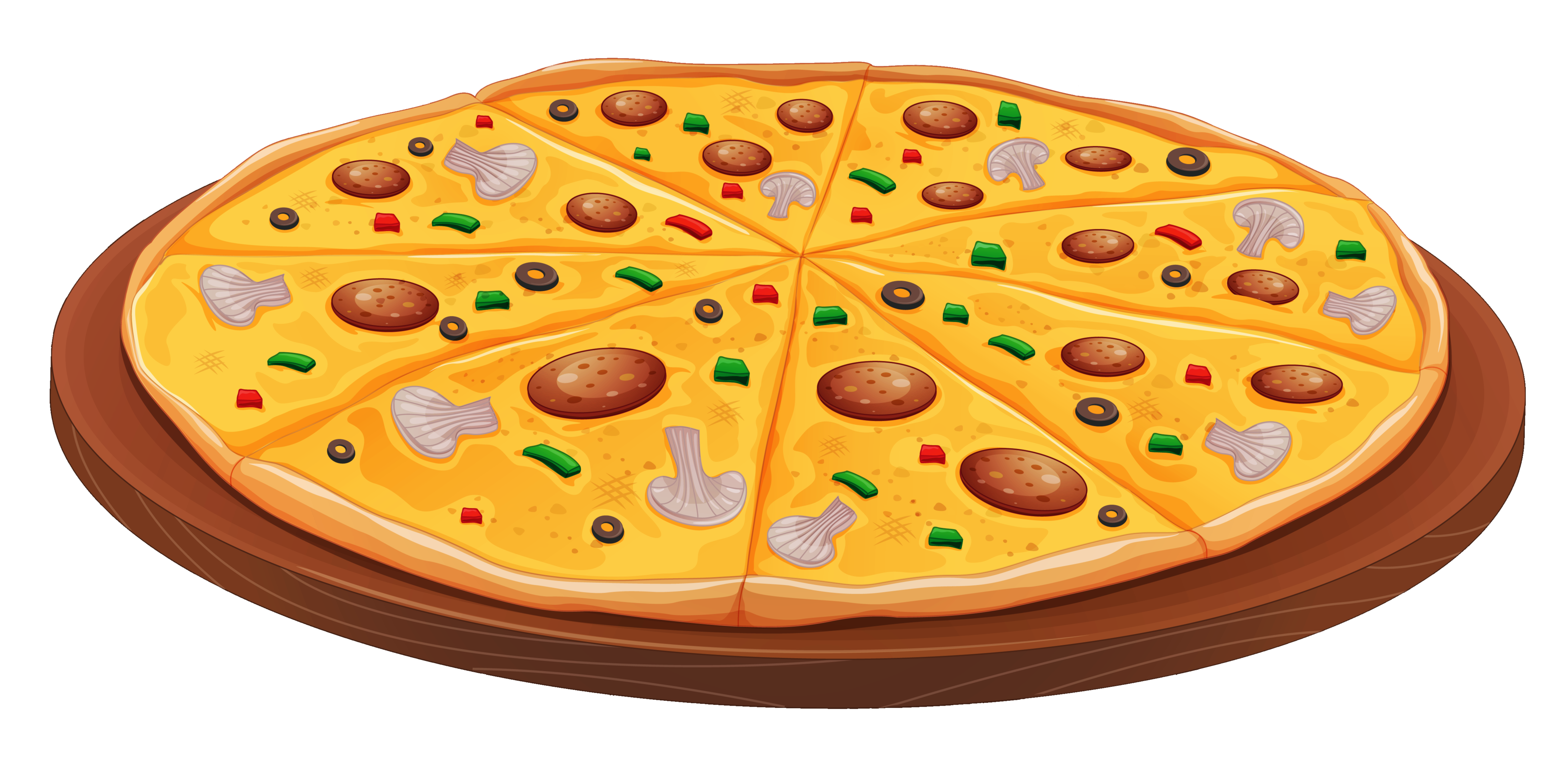 Pizza with mushrooms clipart