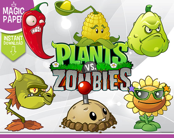 Plants vs Zombies Clipart - Digital 300 DPI PNG Images, Photos, Scrapbook,  Digital, Cliparts - Instant Download from MagicPaperShop on Etsy Studio