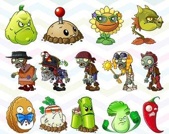 Plants vs Zombies Clipart, Plants vs Zombies PNG Files, Printable Clipart,  Transparent Background
