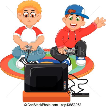 funny two boys playing playstation - csp43858068