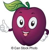 Plum Mascot - Mascot Illustration Featuring a Plum Giving a.