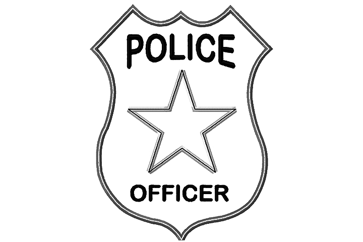 Police badge coloring clipart 2