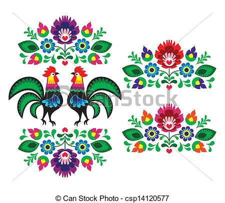 ... Polish ethnic floral embroidery - Decorative traditional.