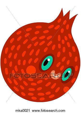A pomegranate with a smiling face