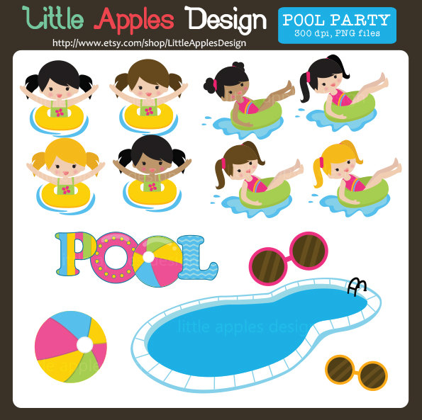 Pool Clip Art / Pool Clipart / Pool Party Clip Art / Pool Party Clipart / Pool Party Digital Images / Commercial u0026amp; Personal