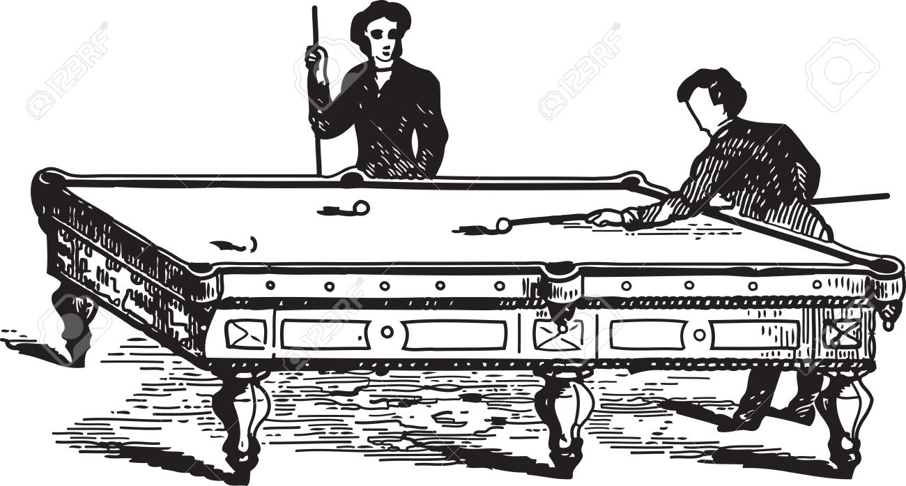 Ancient engraving of two men playing pool game Stock Vector - 23397659