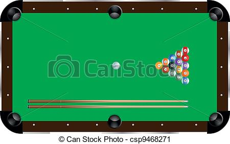 ... pool table - detailed illustration of a pool table with cues... pool table Clipartby ...