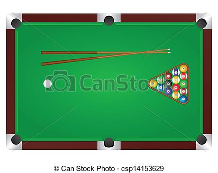 ... pool table - Pool table with balls and cue. Vector... pool table Clip Artby ...