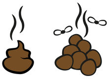 Cartoon poop with flies. Cartoon vector illustration of smelly poop with  flies Stock Image