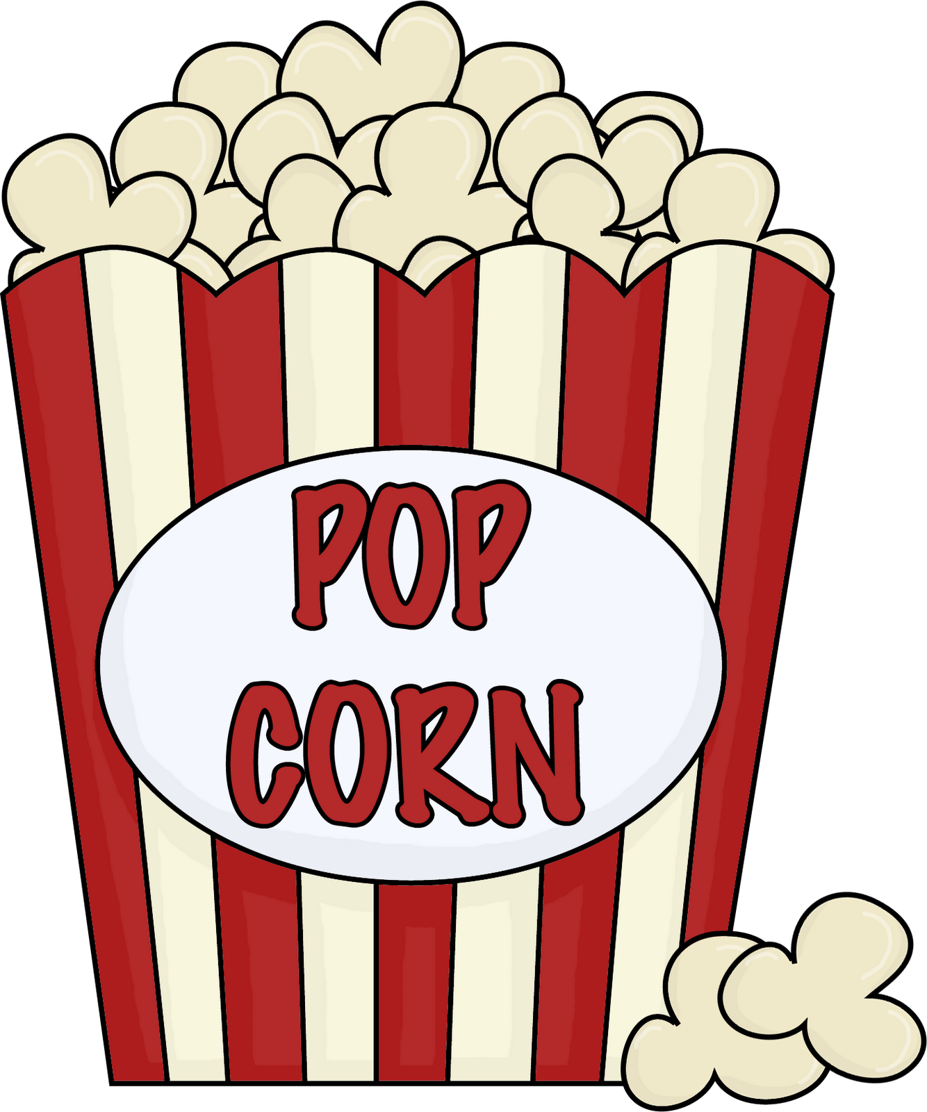 Popcorn clip art black and white outline free