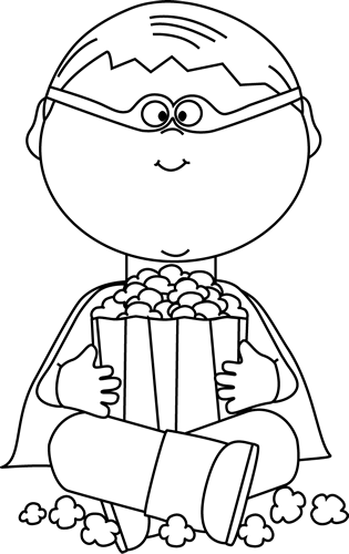 Black and White Boy Superhero Eating Popcorn