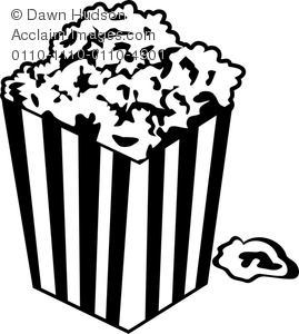 Clipart Image of A Black and White Tub of Popcorn