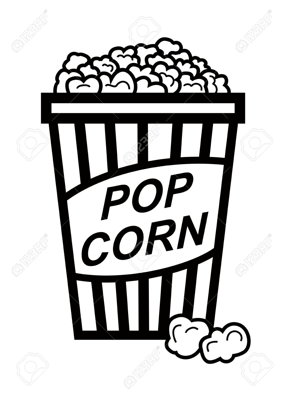 Popcorn clipart black and white #14