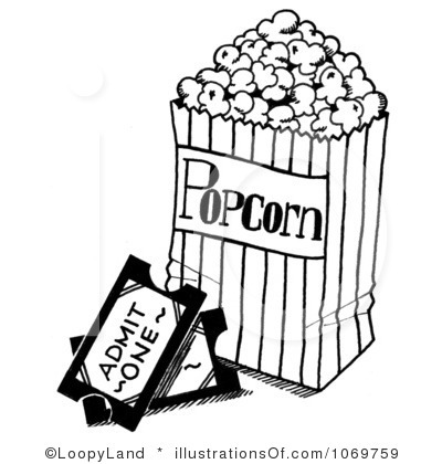 popcorn clipart black and white 4
