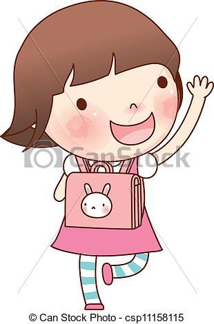 ... Portrait of girl with school bag