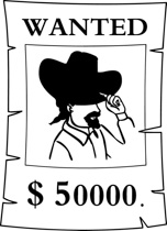 black-white-wanted-poster-bla - Poster Clipart