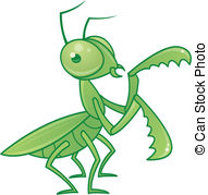 ... Praying Mantis - Vector drawing of a cute and friendly.