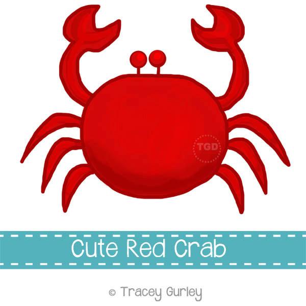 Preppy Red Crab - Original art download, 2 files, red crab clip art, beach art, crab printable