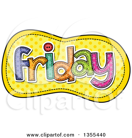 Preview Clipart u0026middot; Cartoon Stitched Friday Day Of The Week Over Yellow Polka Dots by Prawny