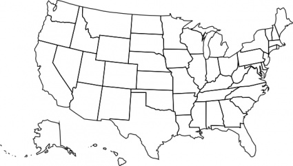 Printable blank us map with .