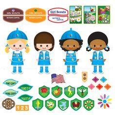 Printable Clipart Clip Art Digital PDF PNG File - Girl Scout Girl Patch Pin Badge Award