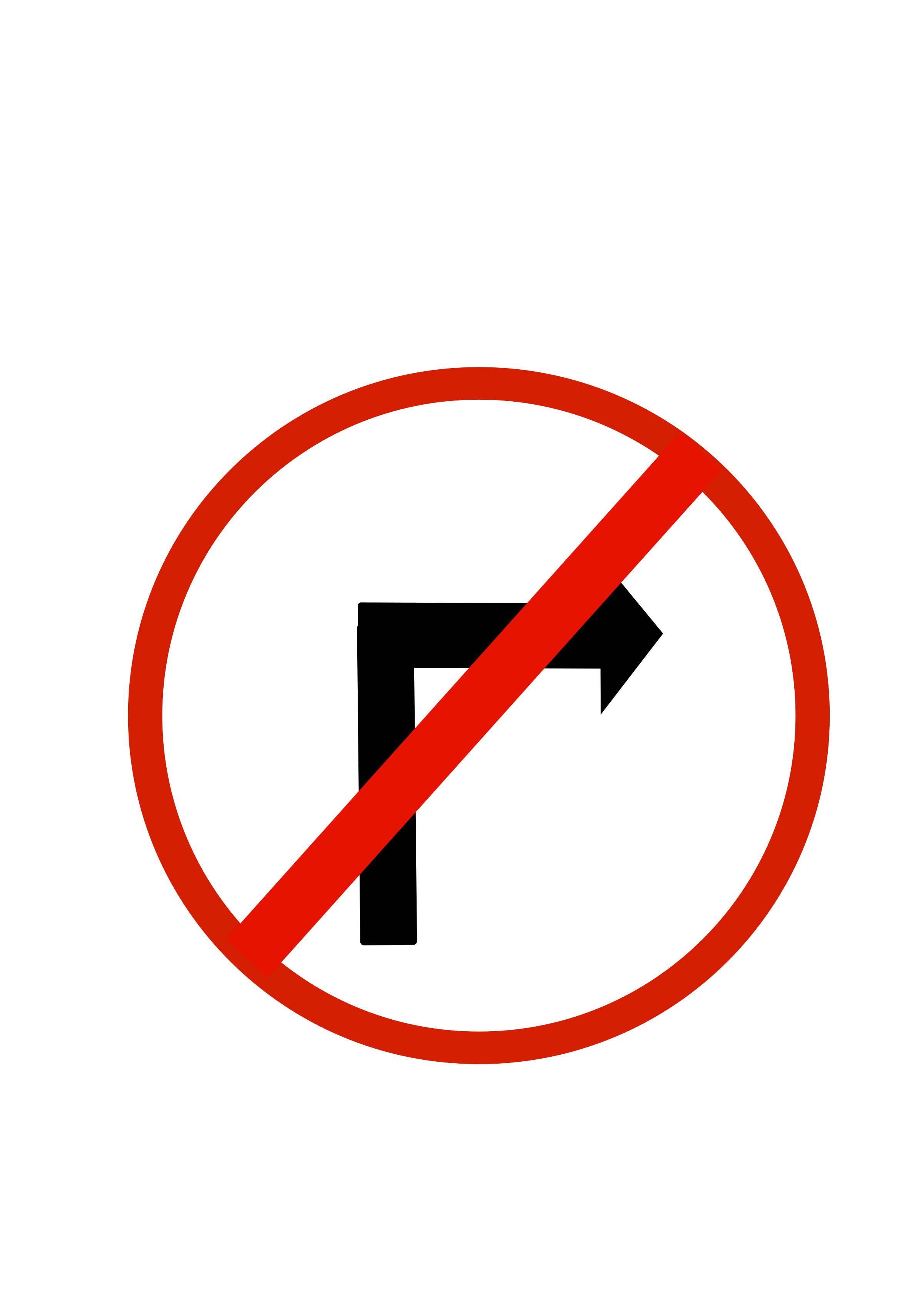 Indian road sign - Right turn - prohibited sign clipart