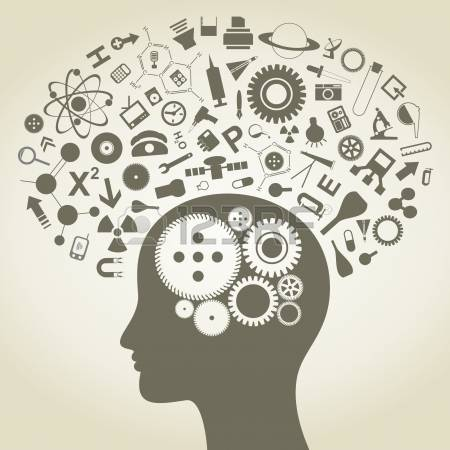 psychology: The head of the person consists of objects of science Illustration