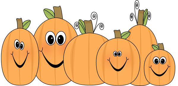 Pumpkin Patch Clip Art Image - patch of pumpkins with funny faces.