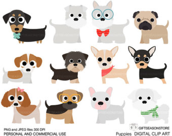 Puppies Digital clip art part 1 for Personal and Commercial use - INSTANT DOWNLOAD