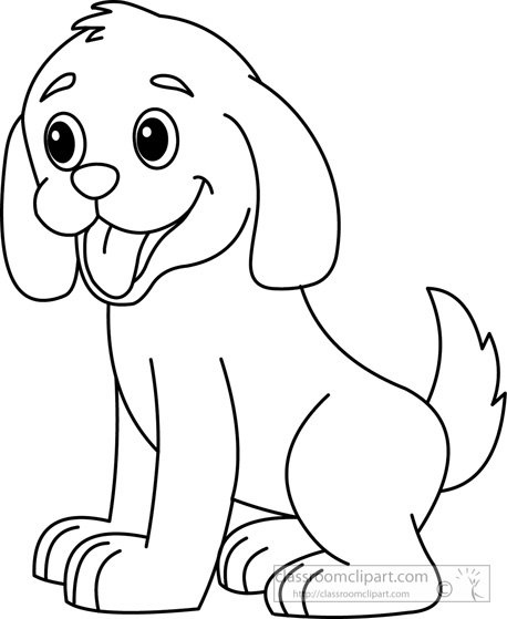 Puppy Dog Black White Clipart