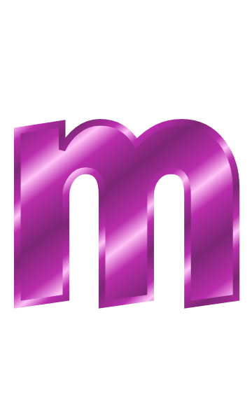 Purple Metal Letter M