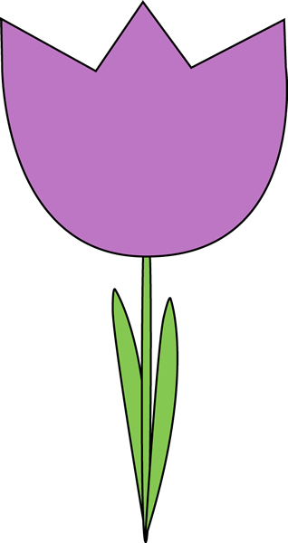 Purple Tulip Clip Art Image Large Purple Tulip With Green Leaves