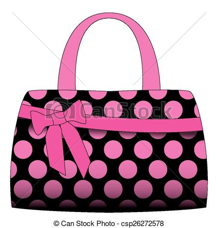 . hdclipartall.com Vector black handbag in pink polka dots on a white.