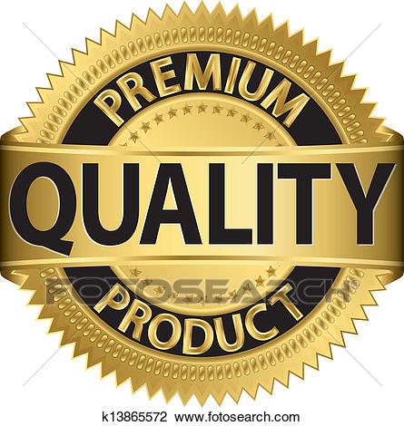 Clipart - Premium quality product golden labe. Fotosearch - Search Clip  Art, Illustration Murals