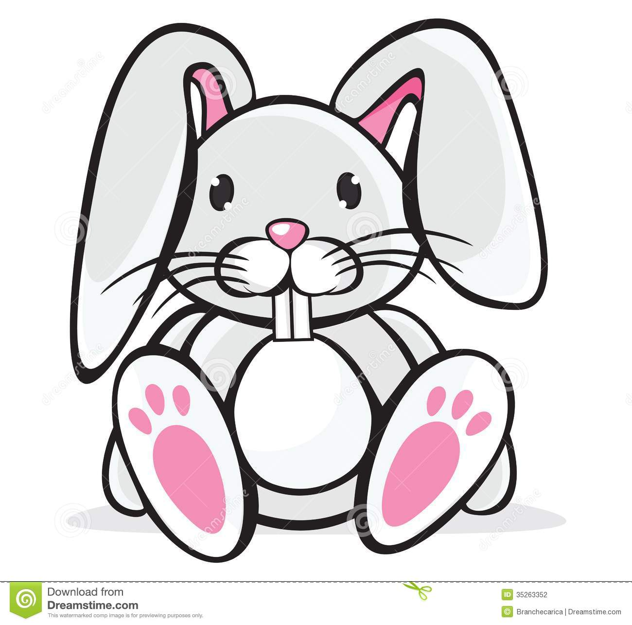 Cute white albino bunny free - Rabbit Clipart Black And White