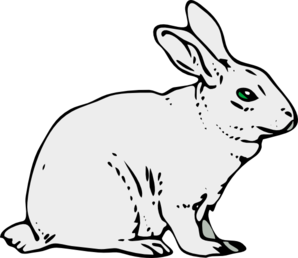 Gray Rabbit Clip Art - Rabbit Clipart Black And White
