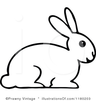 Rabbit clipart b w #3