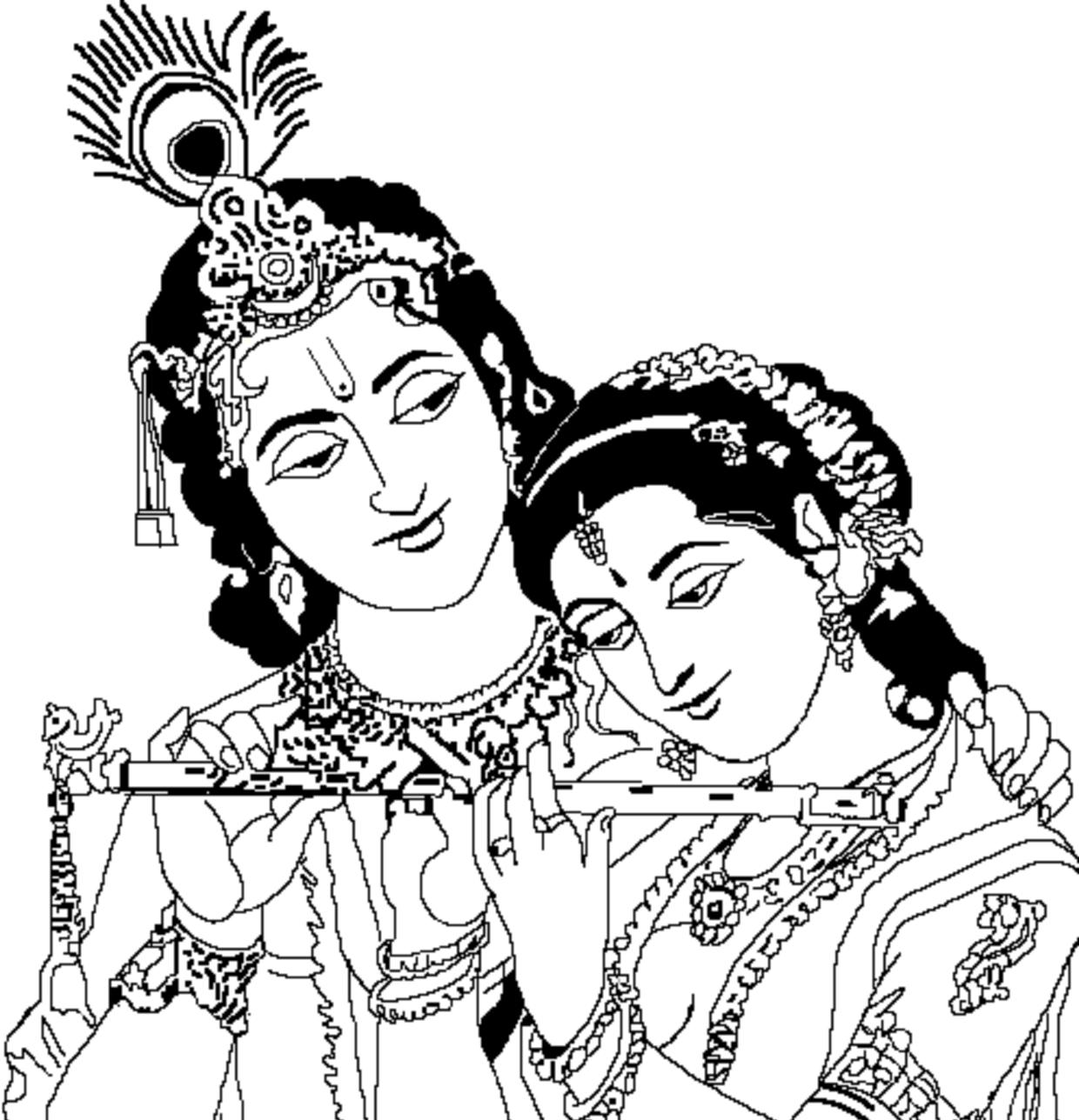 radha krishna black and white clipart