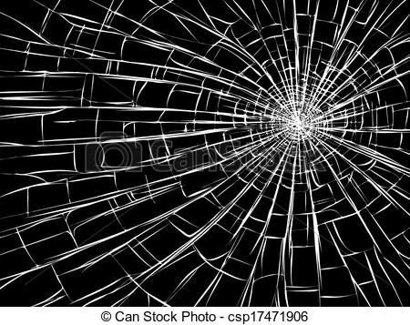 ... Radial cracks on broken glass. - Vector illustration of.
