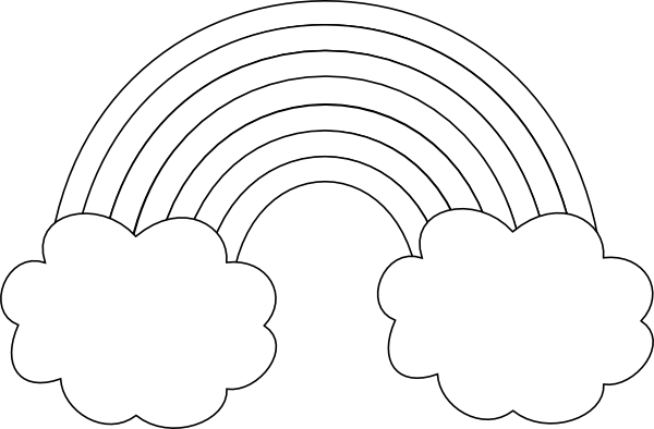 Rainbow With Clouds Outline Clip Art At Clker Com Vector Clip Art