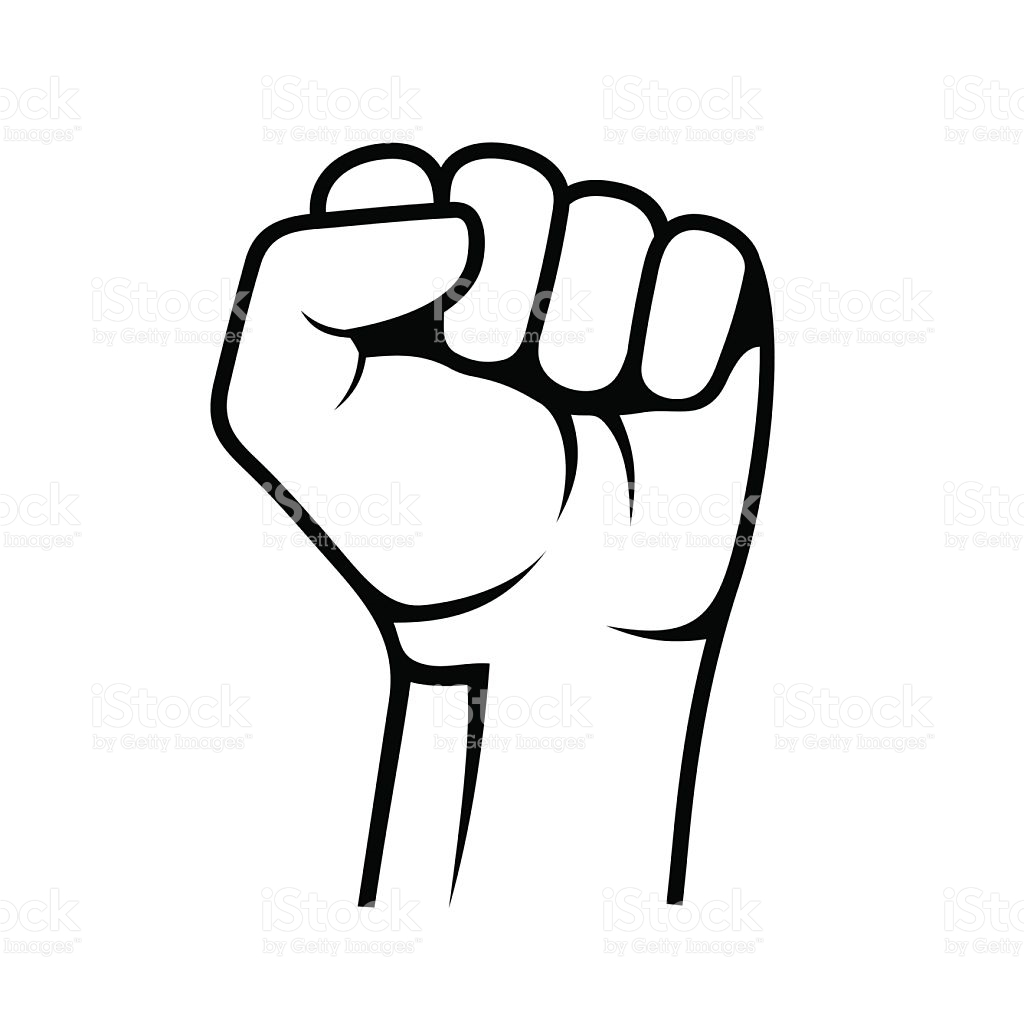 Raised Fist on White .