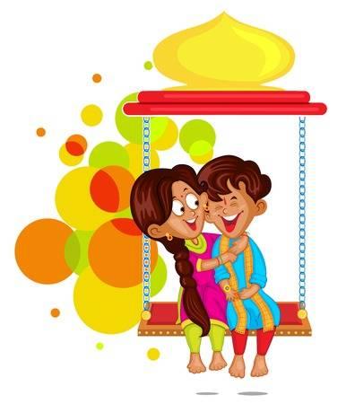 Brother and Sister in Raksha Bandhan Illustration