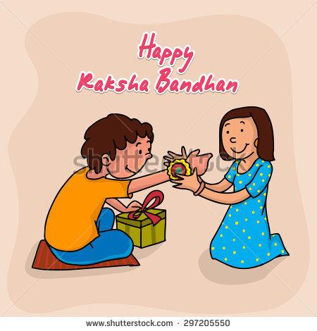 Cute little sister tying rakhi to her brotheru0027s wrist on occasion of Indian  festival, Raksha