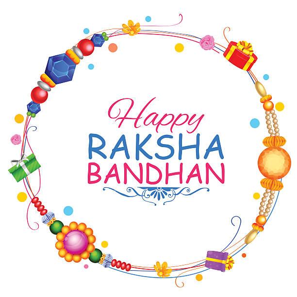 Raksha Bandhan background with rakhi and gift vector art illustration