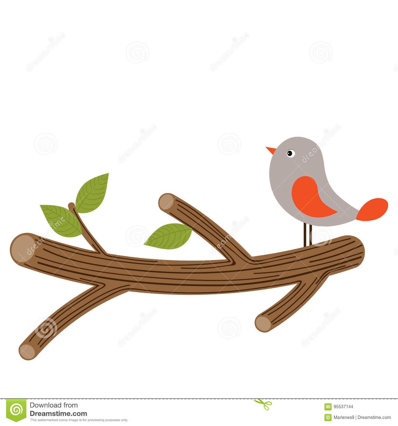 Bird Clipart. Bird on Branch Vector Illustration.