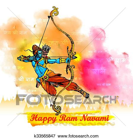 Clip Art - Lord Rama with bow arrow in Ram Navami. Fotosearch - Search  Clipart